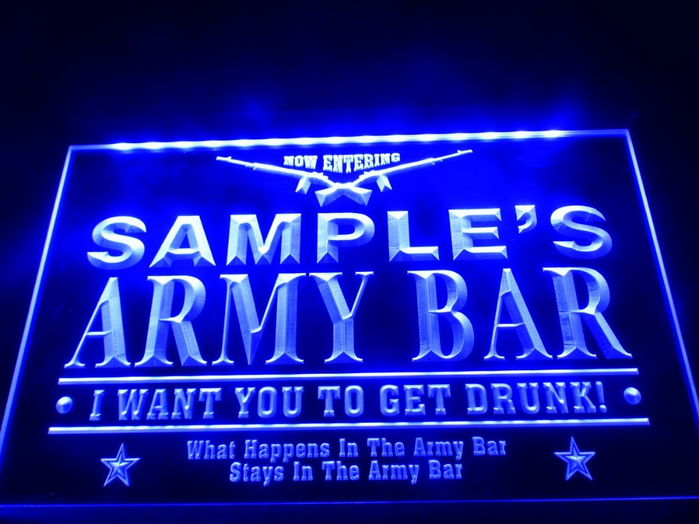 DZ060 Name Personalized Custom Army Man Cave Bar Beer LED