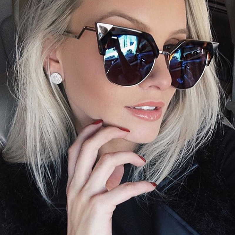 Winla Cat Eye Sunglasses Women Newest Fashion Designer Coating Mirrors Metal Bending