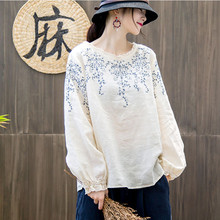 Johnature 2018 Autumn Embroidery Tops Casual Vintage Full Sleeve Solid Color Loose O-Neck Ruffled New Women Linen T-Shirts