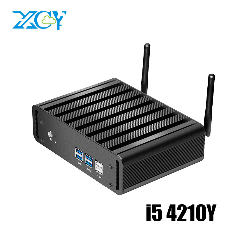 Windows 10 Mini PC Intel Core i5 4210Y Dual Cores 1.90GHz 4GB DDR3 RAM 120GB SSD Fanless Mini Computer HDMI VGA 6 USB WiFi HTPC mini computer windows 10 mini pc cpu intel core i7 4610y i5 4210y i3 4010y ddr3 ram office computer gaming pc hdmi vga wifi
