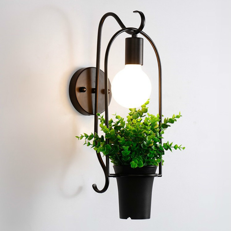 Creative potted green plant wall lamp wrought iron bedside lamp living room background cafe restaurant bar decor light mx4231059Creative potted green plant wall lamp wrought iron bedside lamp living room background cafe restaurant bar decor light mx4231059