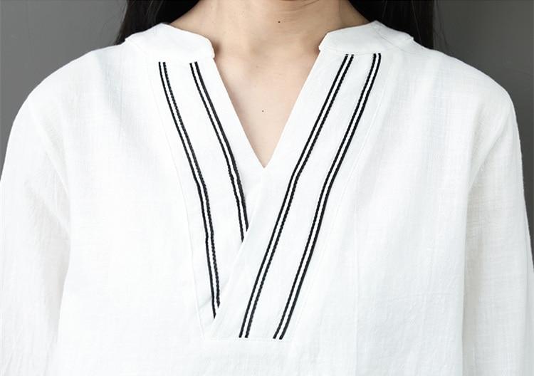 Spring Summer Cotton Linen 2 Piece Sets Women V-neck Blouses And Plaid Wide Leg Pants Suits Casual Loose Fashion Women's Sets 39