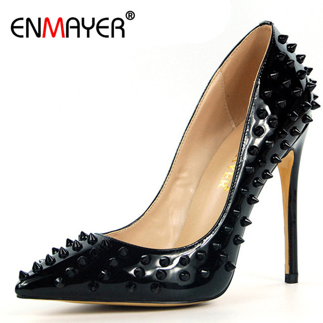 ENMAYER Golden Shoes Woman High Heels Rivets Plus Size 35-46 Summer Pumps Pointed Toe Red Party Wedding Shoes Slip-on Shoe