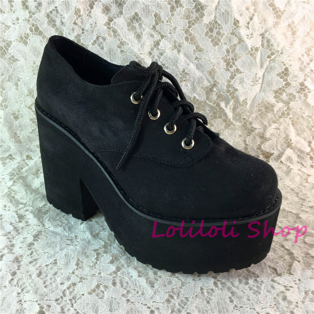 Princess sweet lolita shoes Loliloliyoyo antaina gothic Japanese design cos shoes custom thick bottom black suede
