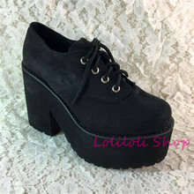 Princess sweet lolita shoes Loliloliyoyo antaina gothic Japanese design cos shoes custom thick bottom black suede shoes 9618-2