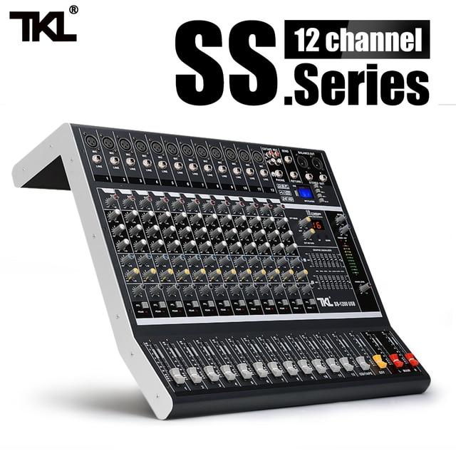 TKL SS1200 USB profesyonel ses mikseri 12 kanal ses karıştırma konsolları Bluetooth 16 yankı ekolayzır