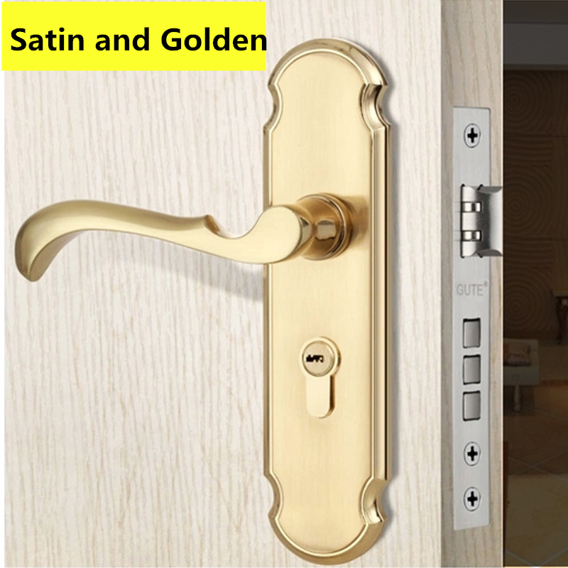 5A497 Satin and Golden Modern style Door lock bedroom room bathroom lock with handle lock t handle vending machine pop up tubular cylinder lock w 3 keys vendo vending machine lock serving coffee drink and so on
