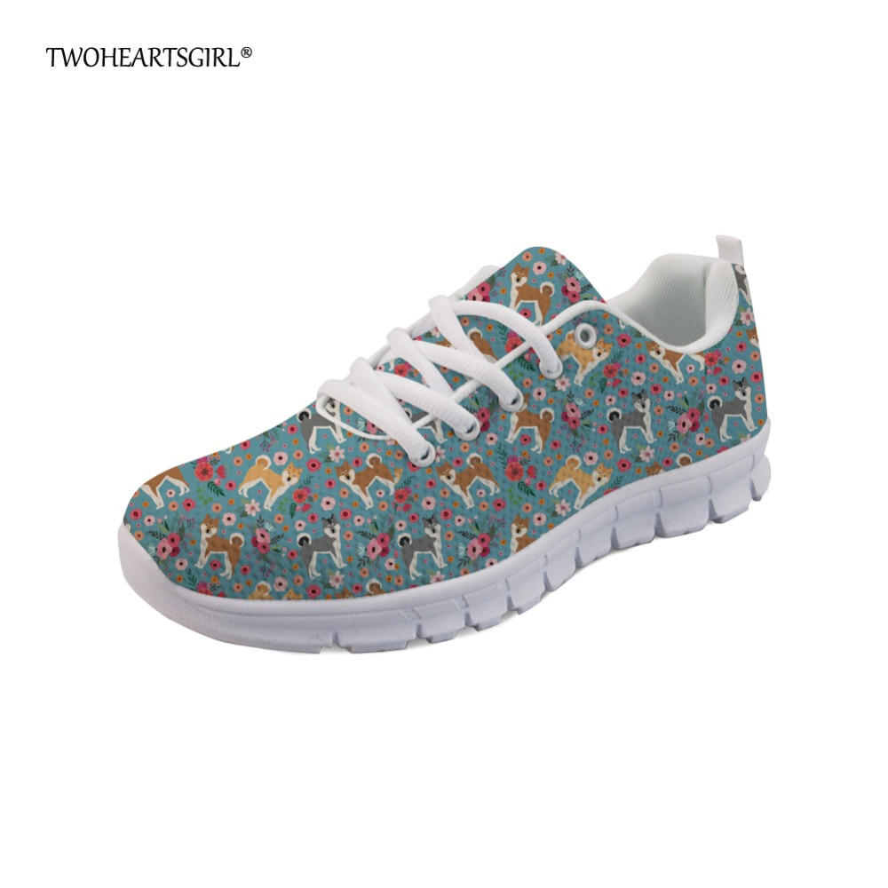 Twoheartsgirl Akita Flower Sneakers for Women Casual Ladies Flats Walking Shoes Breathable Lace Up Mesh Shoes Mint Green Shoes instantarts fashion girls flats shoes funny dog alaskan malamute flower printing mesh flats shoes casual women lace up sneakers