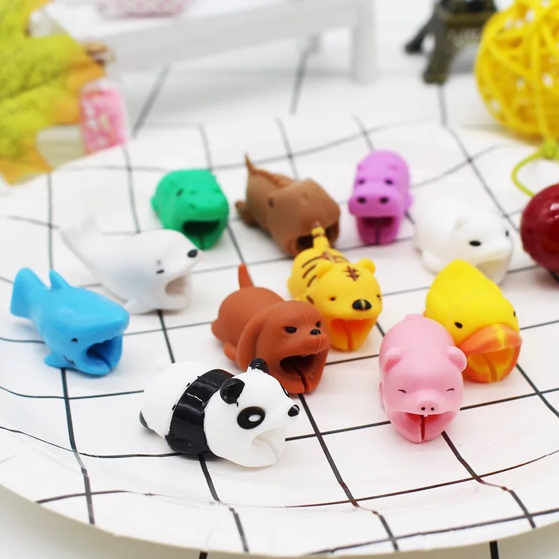HTB1iAAwcBCw3KVjSZFuq6AAOpXaa 1Pcs Cute Animal Cable Protector Cord Wire Cartoon Protection Mini Silicone Cover Charging Cable Winder For Iphone Charger Cable