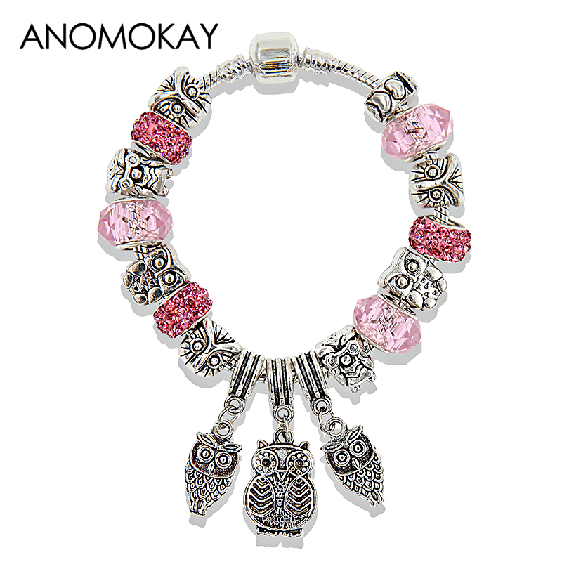 2017 Antique Silver Owl Pendant Charm Bracelet Pink Blue Purple Crystal Bead Pandora Bracelets & Bangles for Gril Birthday Gift