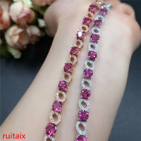 KJJEAXCMY fine jewelry 925 sterling silver with natural pink topaz bracelet jewelry gold and silver color