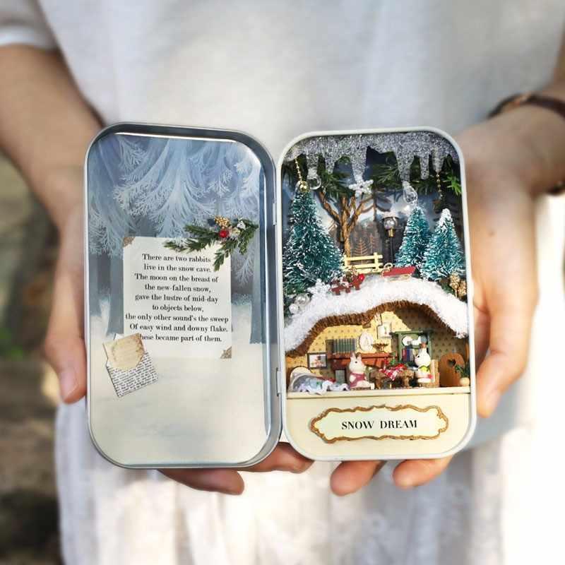 New Arrival Cuteroom DIY Dollhouse Miniature LED Light Box Theatre Gift Decor Collection Mini Wooden Puzzle Dollhouse