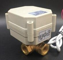 TF10-BH3-A, 2/3/5/7 провода латунь 3/8 »(DN10) DC12 или DC24V 3 Way Т/l Тип Горизонтальный Электрический клапан