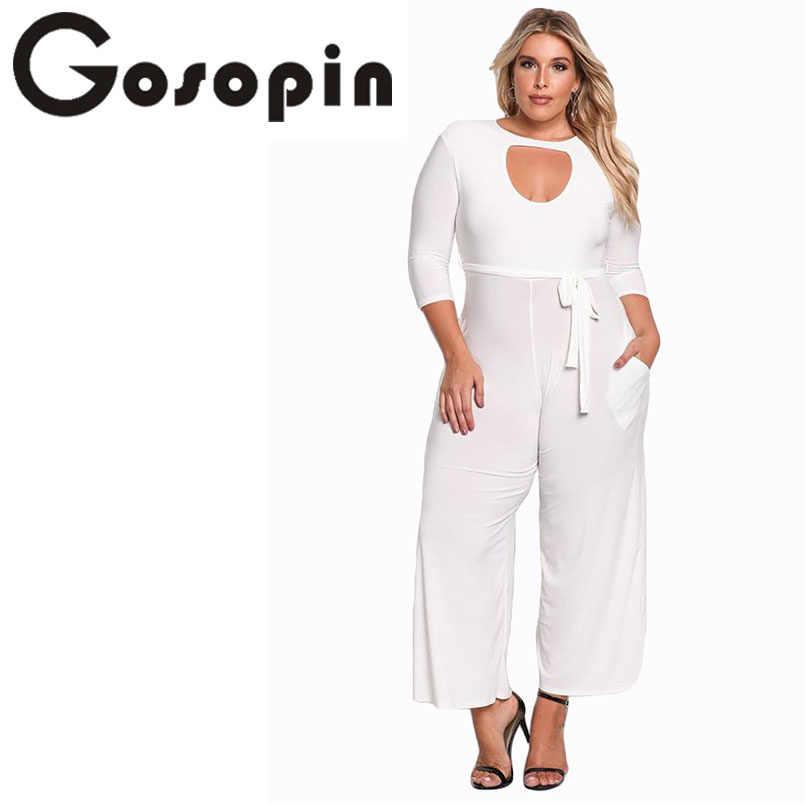 5f2406cff14d ... Gosopin Plus Size Rompers Women Jumpsuit Elegant Long Pants Sexy White  Jumpsuits Ladies Office Clothes Club ...