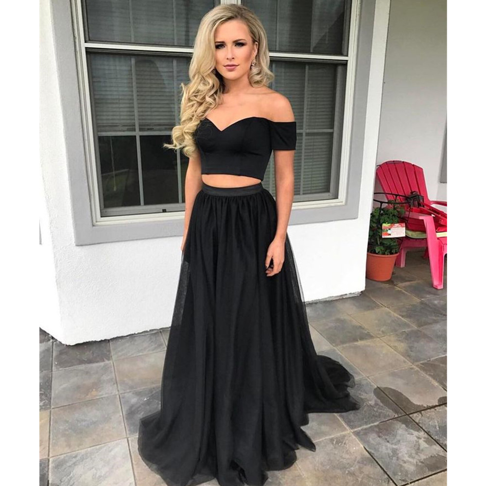 Cheap 2 Piece Wedding Dresses: Cheap Black 2 Piece Prom Dresses Boat Neck Off The