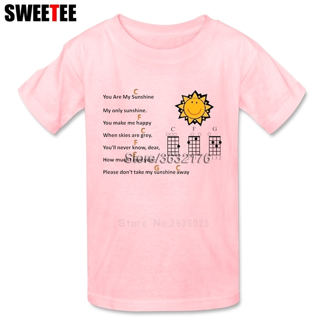 599d02fa8faa You Are My Sunshine Ukulele Boys Girls T Shirt Pure Cotton Short Sleeve O  Neck Tshirt children's Tops 2018 Cool T-shirt For Baby