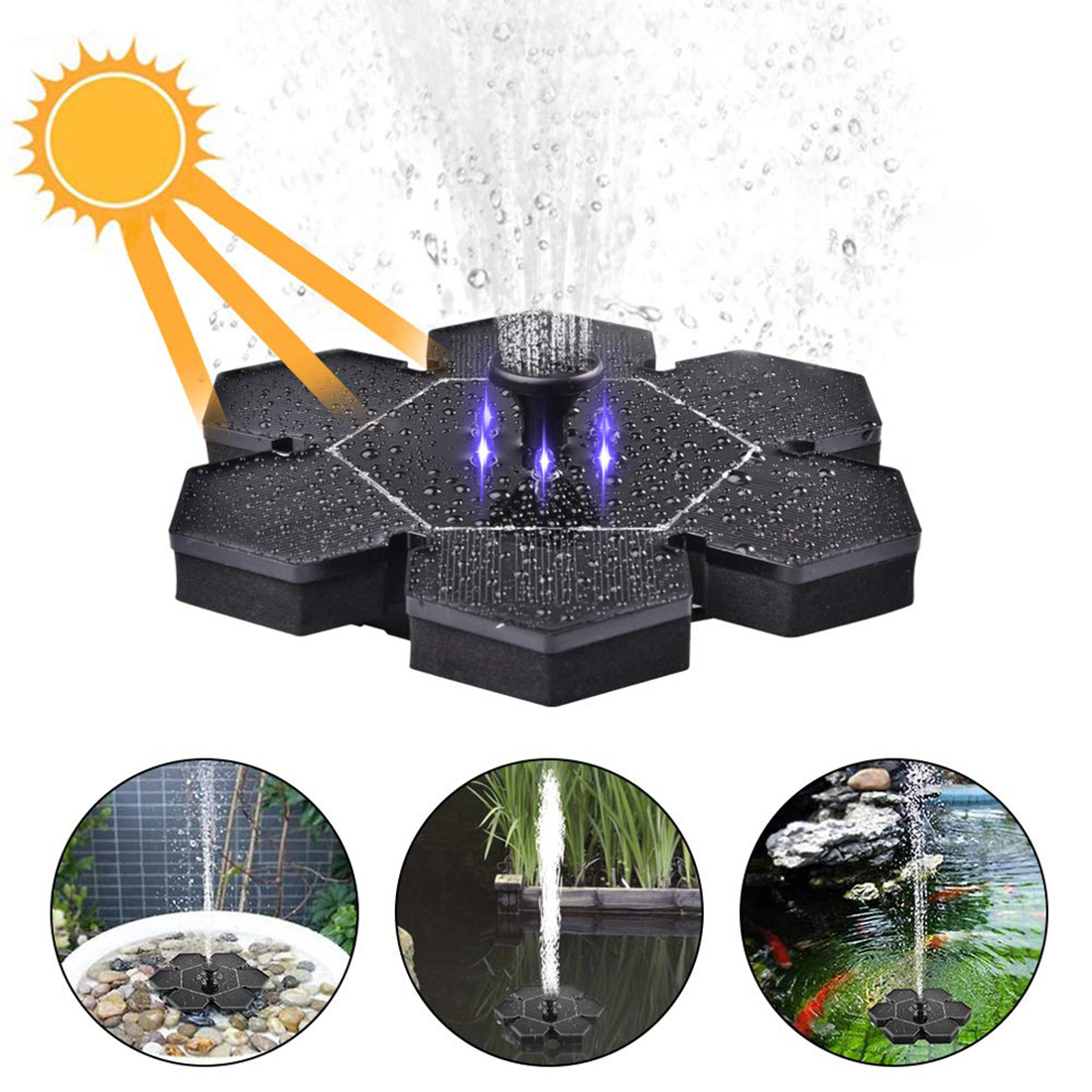 VICTMAX New Solar powered Floating Fountain With Led Light Water Pump Panel Kit for Pond Garden Decoration Drop Shipping