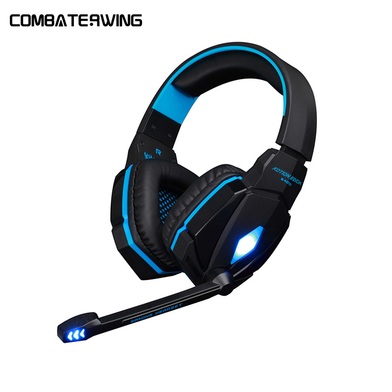 KOTION EACH G4000 Stereo Gaming Headphone with Microphone LED Light Headset Headband Earphone Volume Control for PC Game g1100 3 5mm pro gaming headset headphone for ps4 laptop crack pattern led led blue black red white
