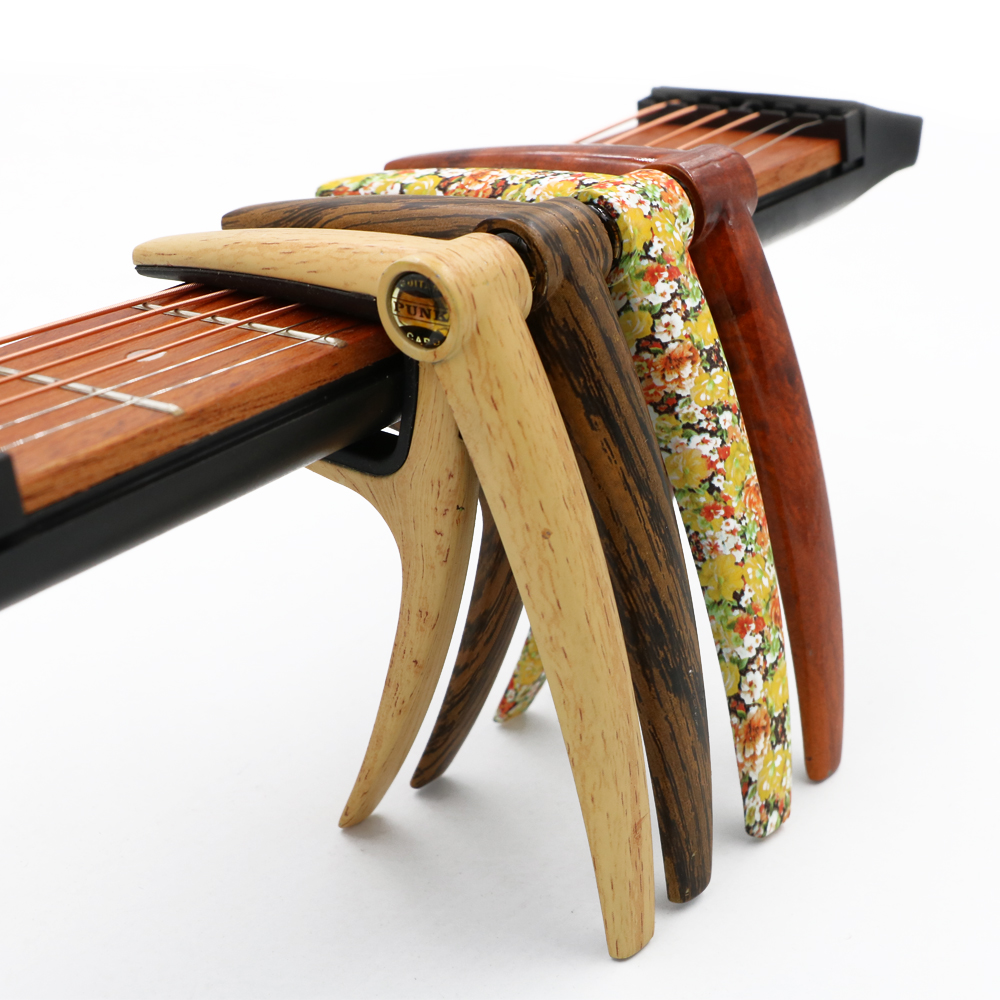 Acoustic Folk Guitar Capo Metal Water Transfer Advanced Wood Pattern Small Floral Stealth Spring Capo Guitar Accessories amumu traditional weaving patterns cotton guitar strap for classical acoustic folk guitar guitar belt s113