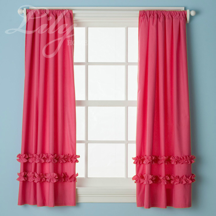 Hot pink ruffled curtain panels 100% cotton for girl\'s room princess ...