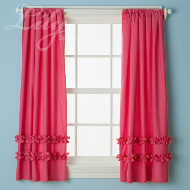 Hot Pink Ruffled Curtain Panels 100 Cotton For S Room Princess Bedroom One Pair