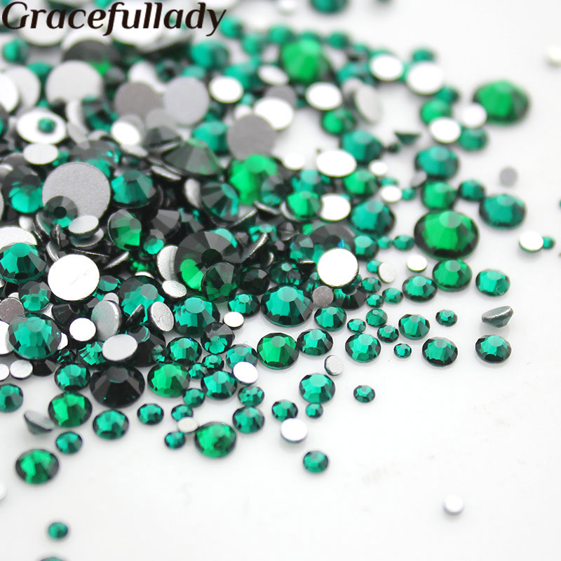Nail Art Rhinestone SS3-SS16 Malachite green Glass Flatback Non HotFix Rhinestones Glue On For Nails Decorations glitter flatback crystal resin rhinestones 2 6mm aquamarine ab color new design for nail art decorations stick drill non hotfix