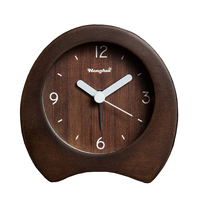 Handmade Classic Small Silent table Clock, nightlight Black Walnut Wooden Clock With Sooze function Large Number Display.