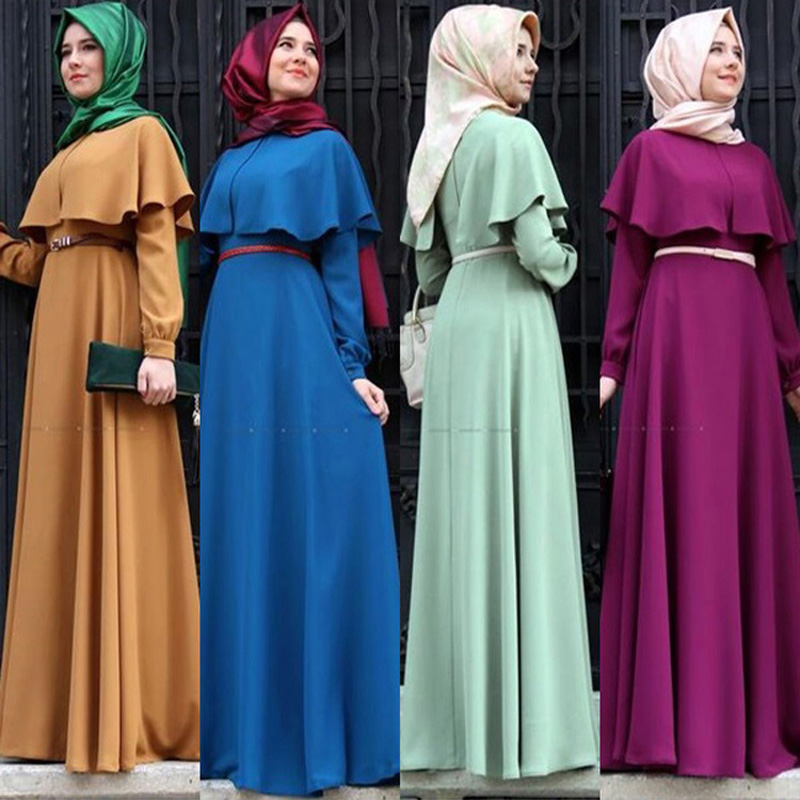 2452c278fd6 Detail Feedback Questions about Personality Cape style Dubai Abaya Turkish Women  Clothing Muslim Dress Islamic Cocktail ladies Long Sleeve Vintage Maxi ...