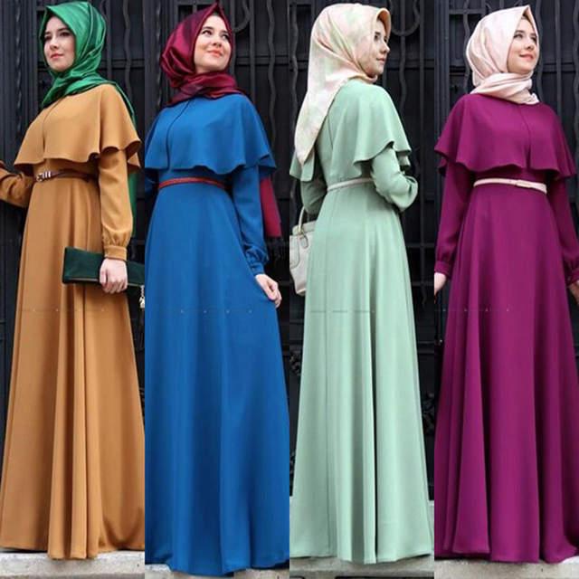 1d24689552a Online Shop Personality Cape-style Dubai Abaya Turkish Women Clothing  Muslim Dress Islamic Cocktail ladies Long Sleeve Vintage Maxi Dresses
