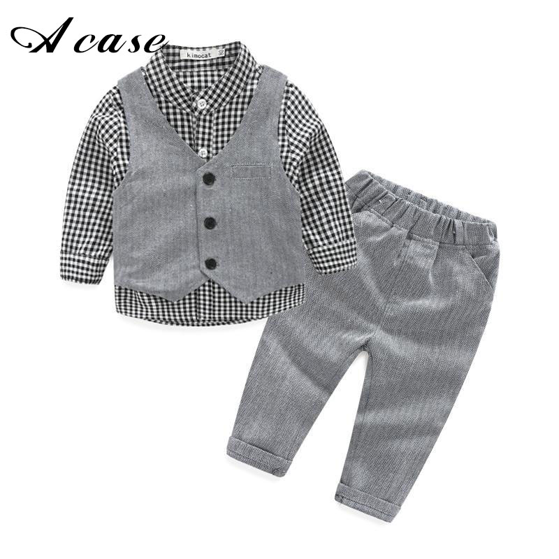 2018 New Fashion Baby Boy Clothes 3 Pcs/set Gentleman Party and Wedding Boys Clothing Set Long Sleeve Newborn Baby Kids Suits gentleman baby boy clothes black coat striped rompers clothing set button necktie suit newborn wedding suits cl0008