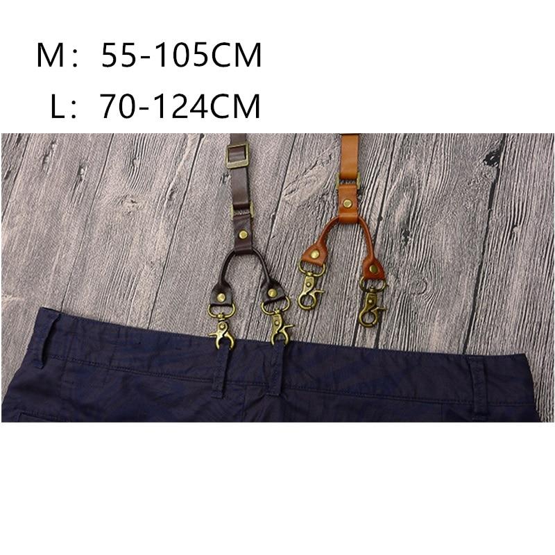Image 5 - British Style Hook mens Suspenders Vintage Adjustable Unisex Genuine Leather Suspender Bronze Shoulder Strap pant suspenders men-in Men's Suspenders from Apparel Accessories
