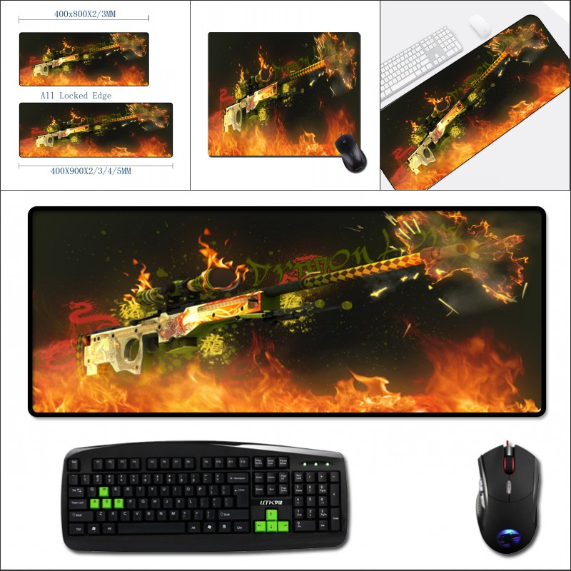 Mairuige The Cool Guns Weapon Pattern Wallpaper Printed Mousepads Big Size Cs:Go  Game Gaming Mouse Mat Pad To Pc Table