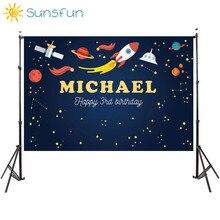 Sunsfun 7x5FT bambini compleanno poliestere orizzontale spazio cosmico stampato sfondo fotografia per neonato goccia sfondo