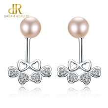купить DR 925 Sterling Silver Butterfly Stud Earrings for Women S925 Natural Freshwater Pearl Wedding Earring Jewelry Factory Wholesale дешево