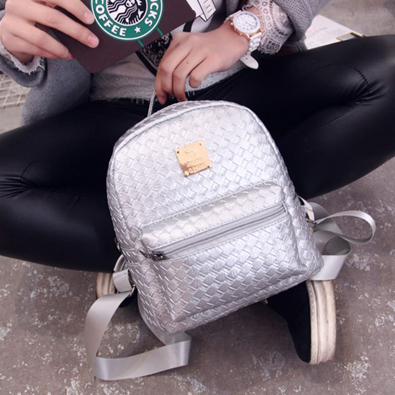 все цены на  Free Shipping Real Photo 2017 Mini PU Knitting Backpack Cheap Women Backpacks Silver Black Pink White BB049  онлайн