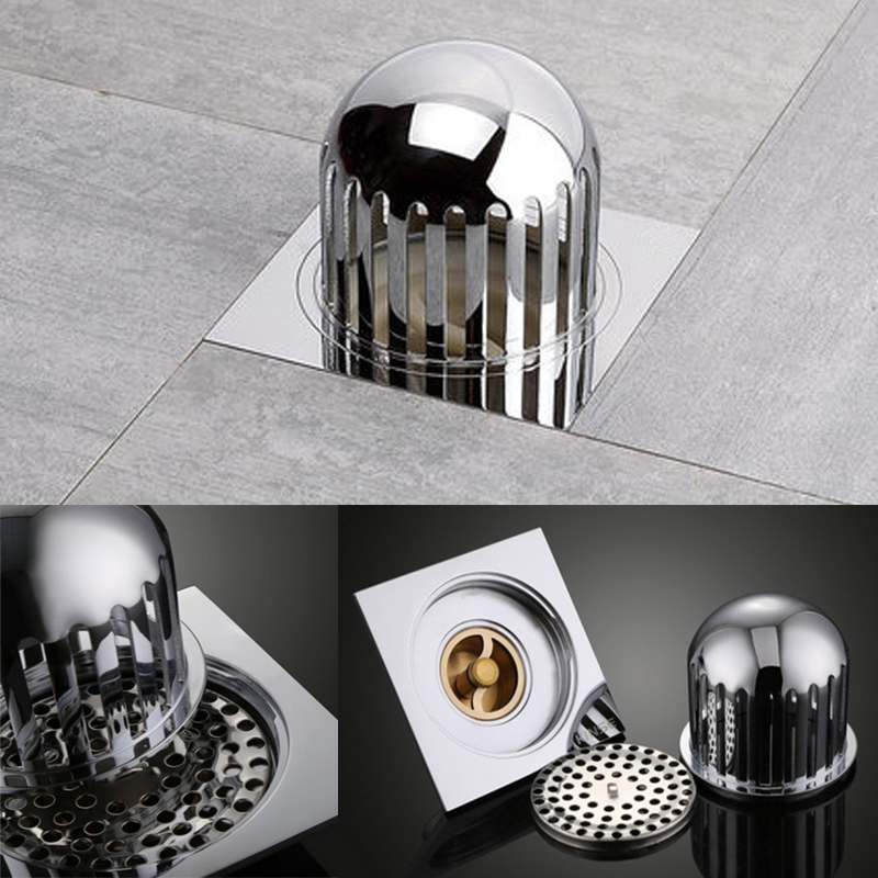 Bathroom Accessory Floor Waste Grates Garden outdoor Drain Brass Chrome square 10cm Drain Strainers with protection cover sognare 10 10cm antique brass art carved cover square shower floor drain trap waste grate with hair strainer deodorant bathdrain