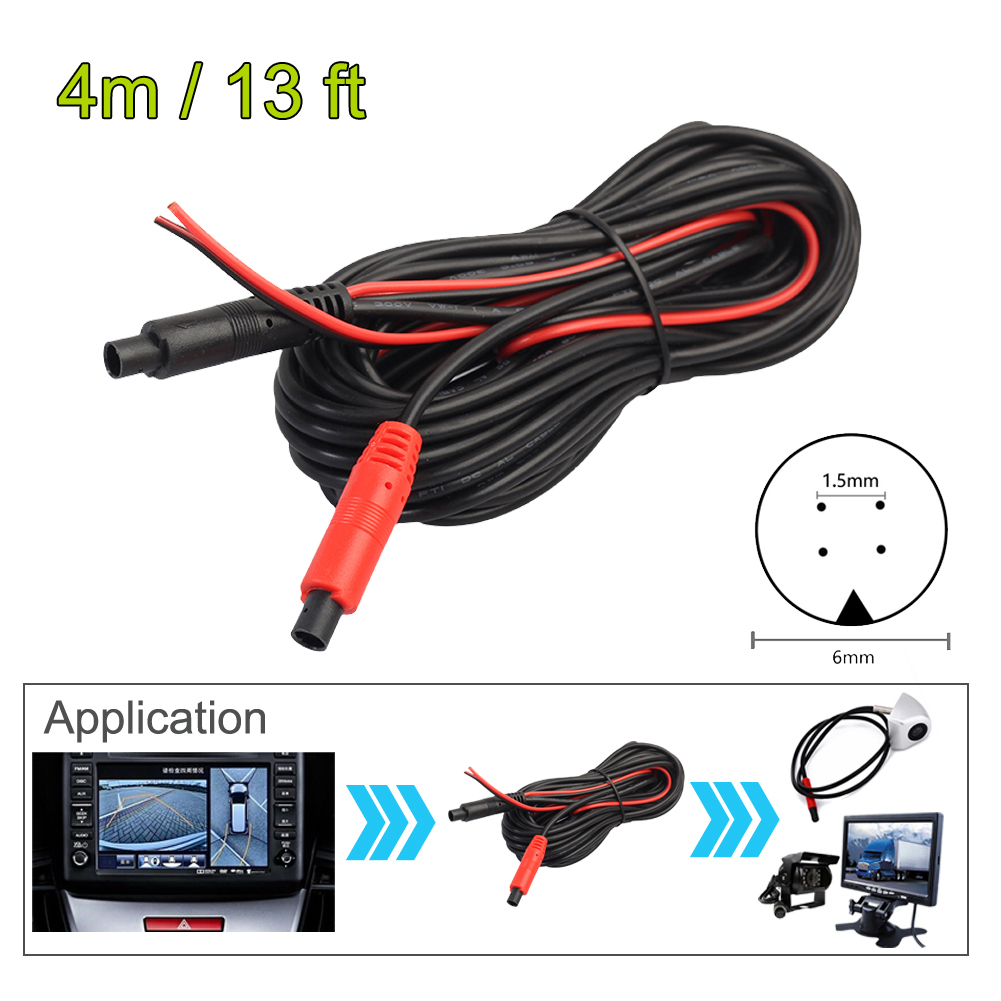 4M Car RCA CAR Reverse Rear View Parking Camera Video Cable With Video Trigger Wire Connecting Car Parking Rearview Monitor New ultralink mcv 4m bulk matrix 2 series component video cable 4m bulk packaging