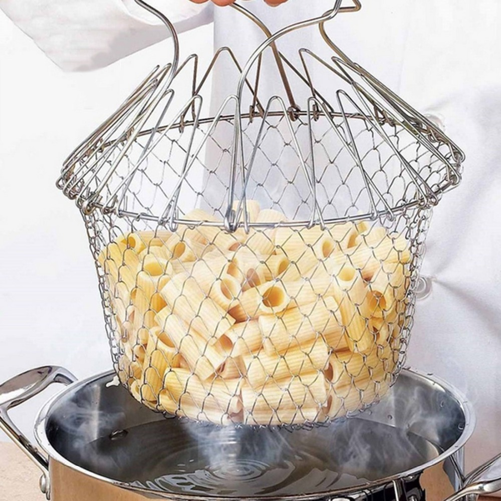Free Shippin Chef Basket,Stainless Steel Foldable Steam Rinse Strain Fry Basket Strainer Net Kitchen Cooking Tool for Fried Food