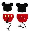 Malha Da Foto do bebê Props Infantil Micky Algodão Handmade Costume Newborn Fotografia Props Traje Infantil Calças e Chapéus