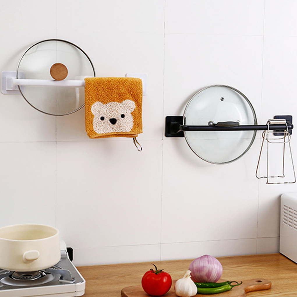 Self Adhesive Towel Rod Towel Bar Stick On Wall Bath Towel Holder Rail Rack Kitchen Bathroom