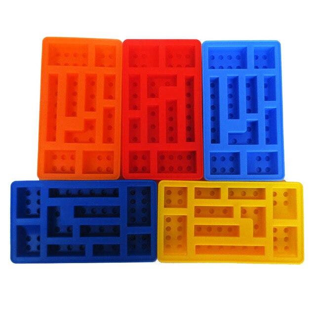 1 шт. 10 отверстий Lego лоток для льда Прямоугольник Силиконовые строительного кирпича Ice Плесень Lego Конструкторы льда образуют Силиконовые Конфеты плесень Желе DIY