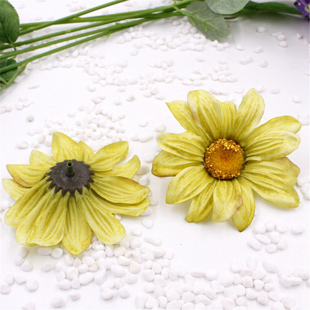 20pcs 10cm Large Silk Sunflower Artificial Flower Head For