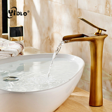 Basin Faucets Waterfall Bathroom Faucet Single handle Basin Mixer Tap Bath Antique Faucet Brass Sink Water Crane Silver A17 phasat n pblt waterfall basin faucet silver