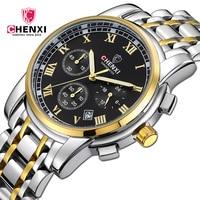 Luxury Top Brand Gold Black Men Business Watch 2017 Roman Numeral Stainless Steel Waterproof Man Casual