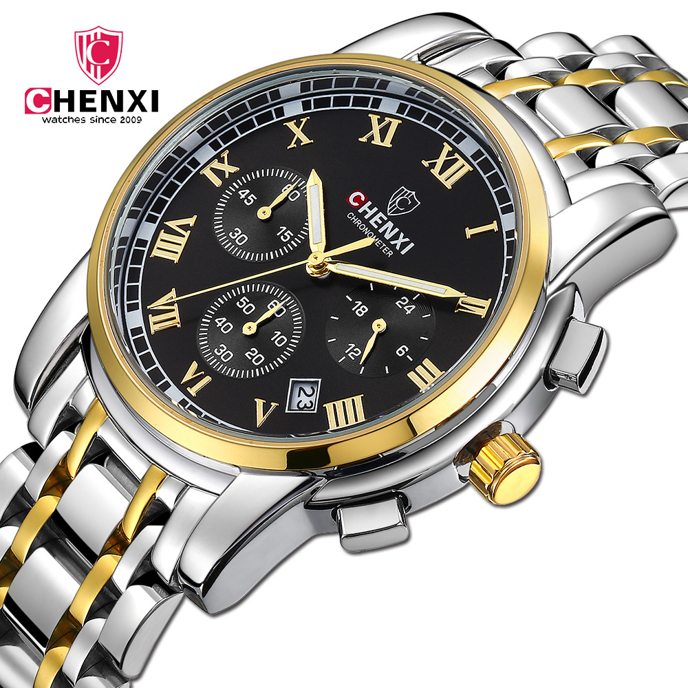 Luxury Top Brand Gold Men Business Watch CHENXI Roman Numeral Stainless Steel Waterproof Man Casual Dress Wristwatch Silver natate men new business clock fashion men watch full gold stainless steel quartz wrist watch chenxi waterproof watch 0140