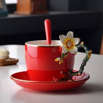3D Color Enamel Coffee Cup Cup Set Porcelain Swan Tea Milk China Bone China