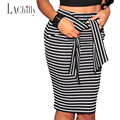 2017 Summer New Fashion Hot Selling Pencil Skirts For Women jupe Elegance Stripes Self-tie Midi Skirt LC71094 saias femininas