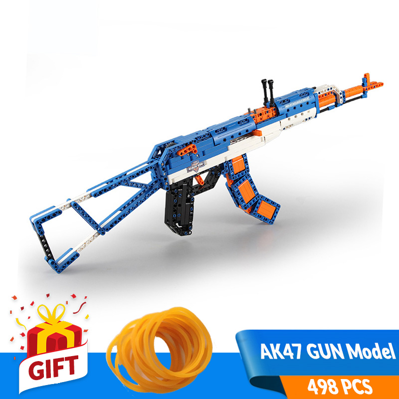 498PCS DIY Building Blocks Gun Toys AK47 Rifle Model Kit Compatible Major Brands Parent Interactive Birthday Gift for Boy Teens