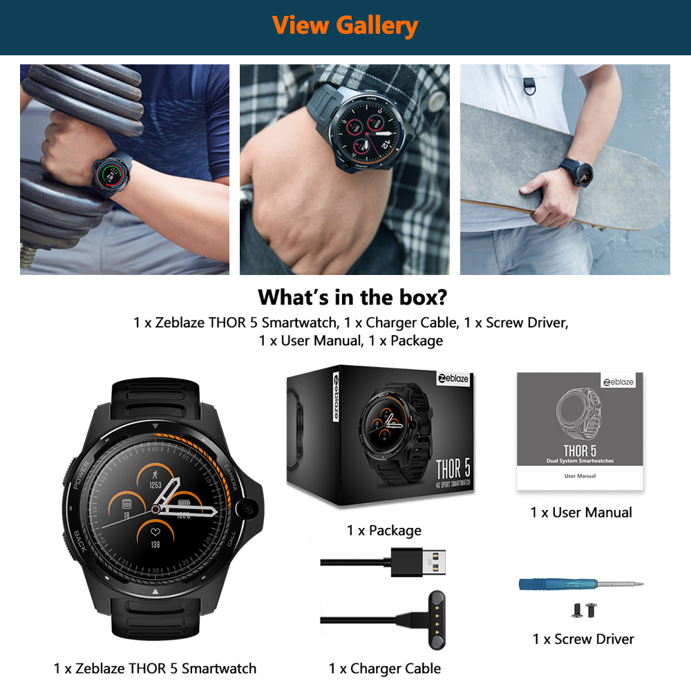 "Image 5 - New Flagship Zeblaze THOR 5 Dual System Hybrid Smartwatch 1.39"" AOMLED Screen 454*454px 2GB+16GB 8.0MP Front Camera Smart watch-in Smart Watches from Consumer Electronics"
