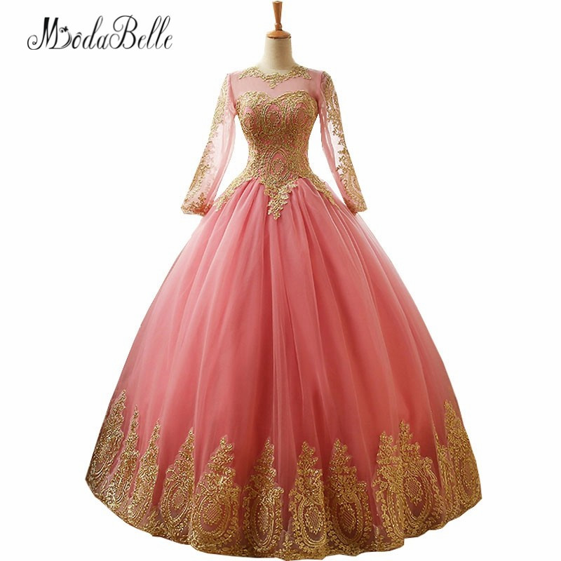 Modabelle Vintage Pink Prom Dress Puffy Tulle Lace Golden